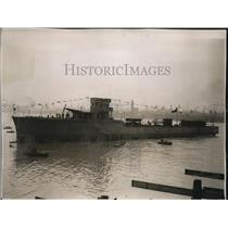 """1930 Press Photo Chilean Torpedo Boat Destroyer """"Orella"""" launched at Southampton"""