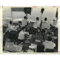 1967 Press Photo Men Behind Controls in Airport Towers Face Many Challenges