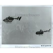 1981 Press Photo Two helicopters flying - hca27756