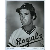 1980 Press Photo John Wathan, Kansas City Royals baseball catcher - mjt02267