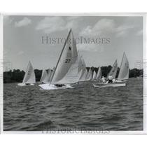 1957 Press Photo Sailboats during the C Invitational regatta at Beaver Lake