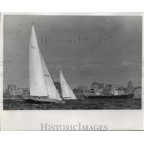 1969 Press Photo The yachts American Eagle, Norsaga during Great Lakes boat race