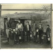 1931 Press Photo Miners and boy in food line at Coverdale, Pennsylvania