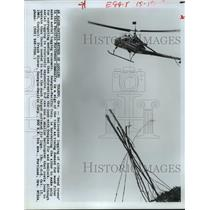 1980 Press Photo Helicopter used in aerial logging in Toledo, Oregon - hca28715