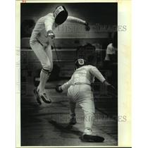 1989 Press Photo Fencers compete during a pentathlon at Texas Military Institute