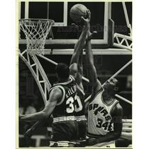 1985 Press Photo San Antonio Spurs and Indiana Pacers play NBA basketball