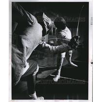 1968 Press Photo Gerald Bodner & Jerry Wiviott in fencing action at Central YMCA