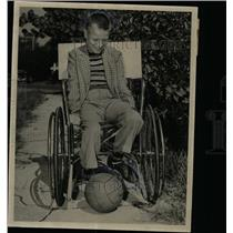 1949 Press Photo Billy Brower Kick football Palsied Boy - RRX65823
