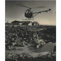 1968 Press Photo Helicopter of Ken Hoffman School sends downdraft to Dry up Mud