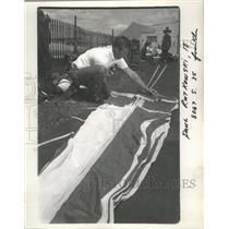 1966 Press Photo Franklin's Paul Rutkowski Packs Parachute With Other Equipment
