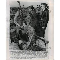 1962 Press Photo Test Pilot Tells others about Ejection Capsule Test Edwards AFB