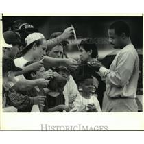 1992 Press Photo Houston Oilers quarterback Warren Moon at Trinity University