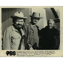 1975 Press Photo Cartoonists Bill Mauldin and Pat Oliphant with Studs Terkel