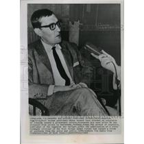 1963 Press Photo Rudolph Augstein discusses his arrest in Karlsruhe, Germany