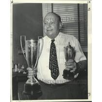 1959 Press Photo Louis S. Levy, Holding first and runner- Masters Pairs trophies