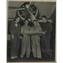 Press Photo Air crew reviews rain-making flight at Albany, New York airport