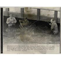1970 Press Photo Fishing at Lake Michigan.