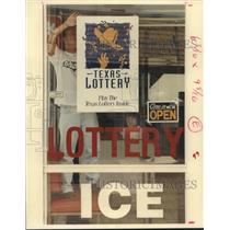 1992 Press Photo Texas Lottery sign in store window at Stop N Shop in Hosuton