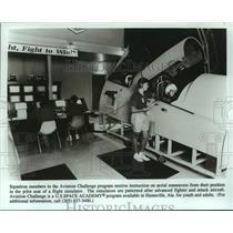 Press Photo Aviation Challenge simulator at US Space Academy Huntsville, Alabama