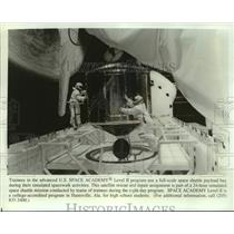 Press Photo Trainees U.S. Space Academy Level II Use Full-Scale Space Shuttle