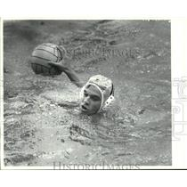 1991 Press Photo #11 Todd Viccarro's head just above water ready to throw ball