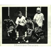 Press Photo Ichabod Crane Lacrosse player #13 handles the ball against Bethlehem