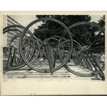 Press Photo Bicycle wheels placed for pit stop during Albany, New York road race