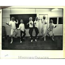 1979 Press Photo Fencers practice maneuvers at Michel Sebastiani's Academy.