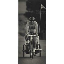 1988 Press Photo Ed Smith and Daughter Alexandria, Ride Across Wisconsin