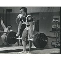 1974 Press Photo Richard Luckman misses world record, at Wisconsin Power Lift