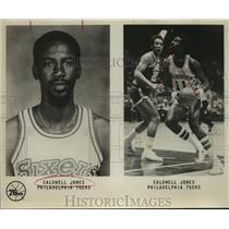 Press Photo Philadelphia 76ers Basketball Player Caldwell Jones on Offense