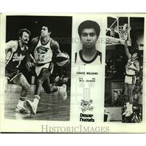 Press Photo Denver Nuggets Basketball Player Chuck Williams Dribbles, Takes Shot