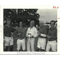 1984 Press Photo Mike Steinmann Gives Boccaccio Loving Cups for Polo, Houston