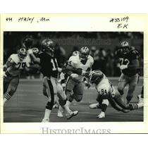 1991 Press Photo San Francisco 49ers football player Charles Haley vs. Saints