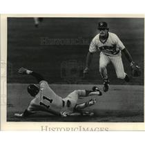 1964 Press Photo Brewers' Jim Gantner leaps to complete double play. - mjt09711