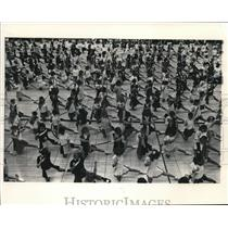 1983 Press Photo Pompon squads in mass practice, Brookfield East High School, WI