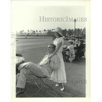 1984 Press Photo Newlyweds Ted and Lee Braun at Polo Match in Houston, Texas