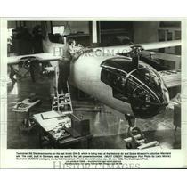 1988 Press Photo Bill Stevenson, Technician Working on Arado 234-B in Maryland