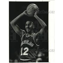 1990 Press Photo Dallas Mavericks Guard Derek Harper - lrs08744
