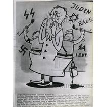 1960 Press Photo German Cartoon poster Konrad Adenauer - RRX72967