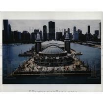 Press Photo Chicago Navy Pier Aerial View Landmark - RRW93153