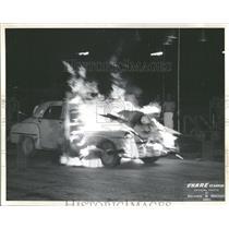 """1961 Press Photo """"T-Bone the Magic Clown,"""" Flaming Car"""