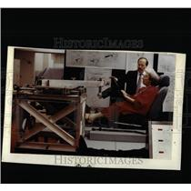 1990 Press Photo Helen E. Weiss Tests Driver's Seat