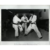 1983 Press Photo Frank Thomas Corebal  Patsy Karate
