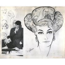 1959 Press Photo Princess Paola Ruffo di Calabria Of Italy's Wedding Hair Drawng