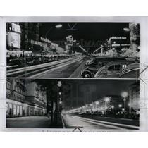 1957 Press Photo Downtown Berlin, Germany At Night - RRW00971