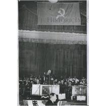 1940 Press Photo Red Communist Banner White Hammer Sickle