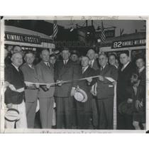 1937 Press Photo May Kelly & Sen O'Keefe at Feeder Bus Ribbon Cutting Chicago