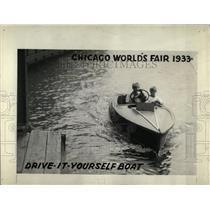 1933 Press Photo CHICAGO WORLD'S FAIR DRIVE IT BOAT - RRW69693