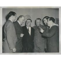 1947 Press Photo Dan Reeves,George Halas, Bert Bell, Bidwell, Mara, Mandel